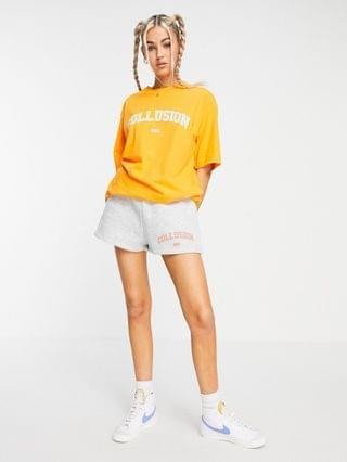 WOMEN COLLUSION branded oversized T-shirt in orange - part of a set