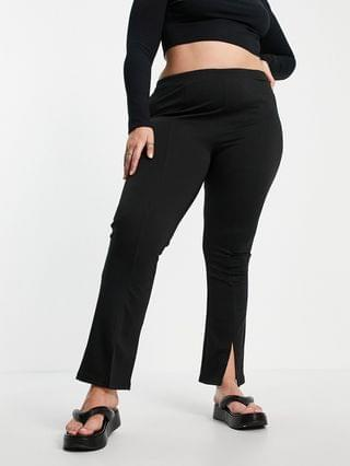 WOMEN Curve high waisted ponte skinny pant with split front in black