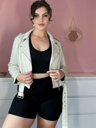 WOMEN Simply Be suedette biker jacket in taupe