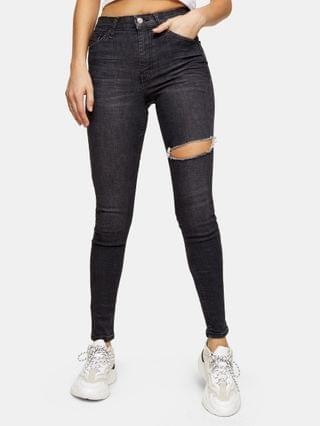 WOMEN Topshop thigh rip Jamie skinny jeans in washed black