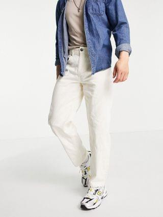 New Look loose cord pants in off white