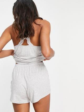 WOMEN New Look lace detail cami short lounge set in gray