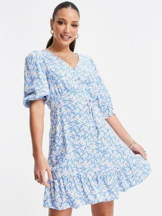 WOMEN New Look Tall floral v neck button mini dress in blue pattern