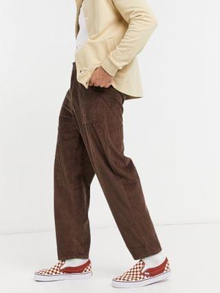 chunky corduroy pants with balloon fit in brown