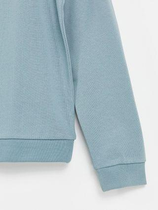 set oversized sweatshirt with Roman numerals tape detail in blue gray