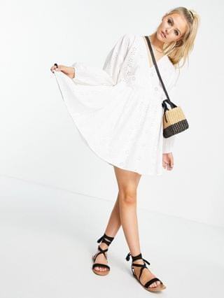 WOMEN broderie casual wrap front mini smock dress in white