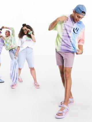 oversized T-shirt in tie-dye organic cotton with smile chest print