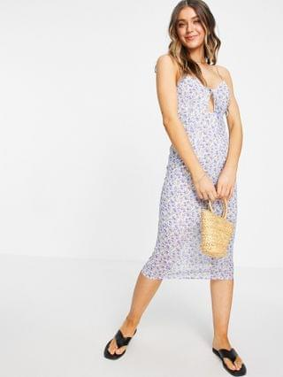 WOMEN Sisters Of The Tribe cami midi dress with bust detail in sheer blue floral
