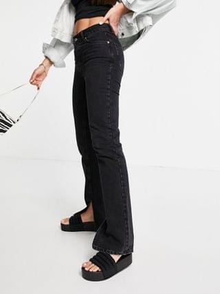 WOMEN Tall organic mid rise '90's' straight leg jeans in washed black with split hem