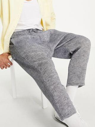 drop crotch pants in lightweight textured fabric