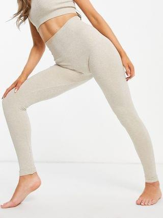 WOMEN & Other Stories recycled yoga set in beige melange