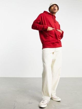 organic oversized longer length hoodie with square pockets in red