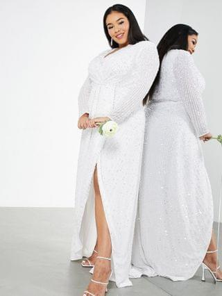 WOMEN EDITION Curve Nola pleated plunge wrap wedding dress in sequin