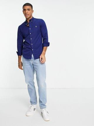 Polo Ralph Lauren player logo garment dyed chino shirt slim fit button down in freshwater blue