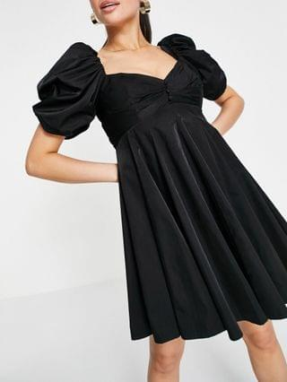 WOMEN puff sleeve mini dress with pleat and godet skirt in black