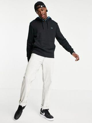 Fred Perry striped trim hoodie in black