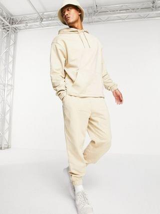 organic oversized tracksuit with hoodie & oversized sweatpants in beige