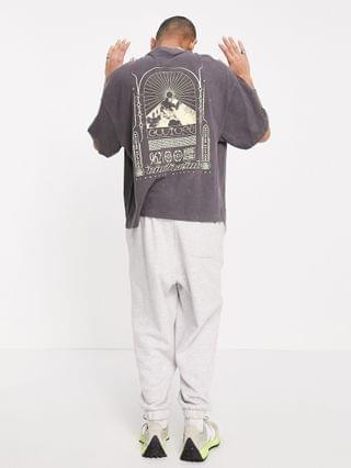 MEN COLLUSION oversized T-shirt with print in acid wash pique in charcoal