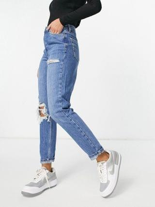 WOMEN Topshop mom jeans with knee and thigh rips in mid blue