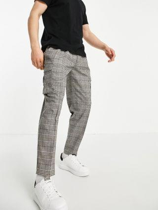 Topman tapered checked cargo pants in gray