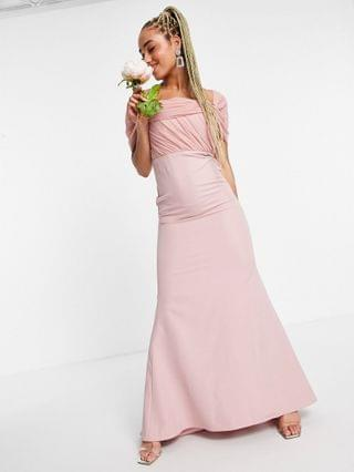 WOMEN Missguided Bridesmaid bandeau gown with organza detail in blush
