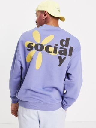 Daysocial oversized sweatshirt with graphic logo back print in blue