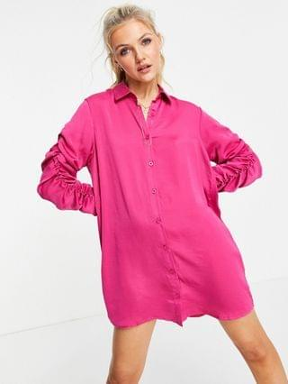 WOMEN Lola May ruched sleeve shirt dress in hot pink