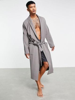 jersey dressing gown in gray heather fleck