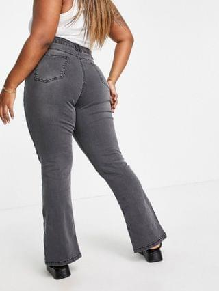 WOMEN I Saw It First Plus front seam split front denim jean in washed gray