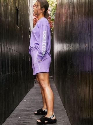 WOMEN Weekend Collective oversized t-shirt with long sleeve with sleeve print bright purple