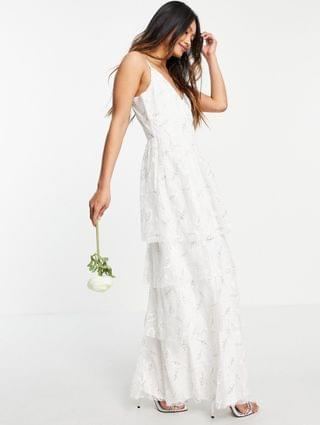 WOMEN Vila Bridal cami smock dress with tiered skirt in light floral