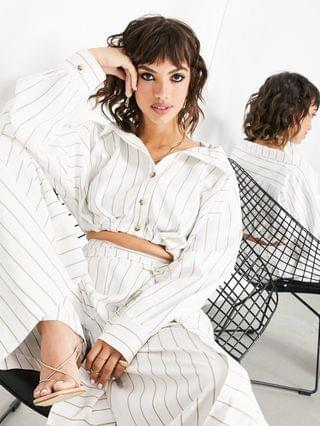 WOMEN EDITION cropped shirt and wide leg pants set in stripe