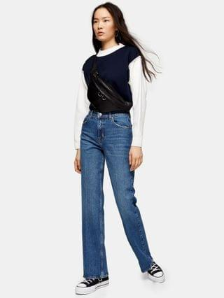 WOMEN Topshop relaxed flare jean in mid blue wash