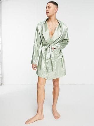 short satin dressing gown in pastel green