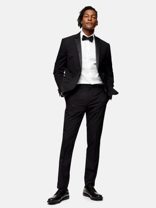 Topman tuxedo skinny fit single breasted suit jacket with notch lapels in black