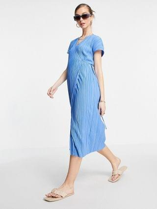WOMEN & Other Stories recycled midi wrap dress in blue