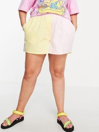 WOMEN COLLUSION Plus exclusive color block shorts in pink and yellow - part of a set