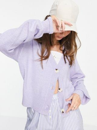 WOMEN M Lounge relaxed cardigan with balloon sleeves in pastel knit