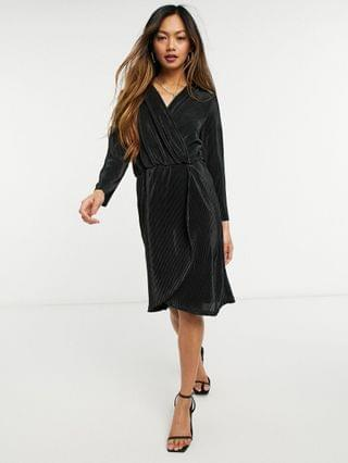 WOMEN Y.A.S plisse mini dress with wrap front and 3/4 length sleeves in black