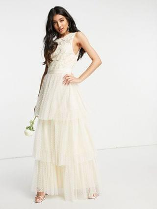WOMEN Y.A.S Bridal maxi dress with lace top and tulle tiered skirt in ivory