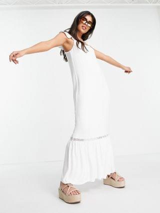WOMEN frill sleeve maxi sundress with lace inserts in white