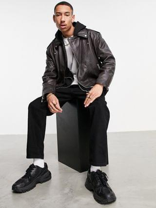 leather jacket in black with quilting