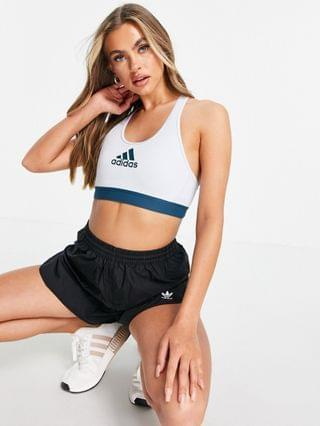 WOMEN adidas Training racer back medium support sports bra in blue and teal