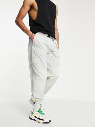 oversized tapered sweatpants in color blocking