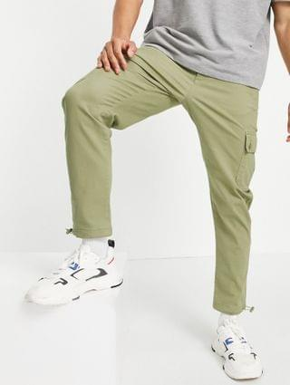MEN tapered cargo pants in light green with toggles