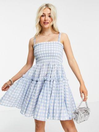 WOMEN Petite cami mini sundress dress with raw edges in blue gingham
