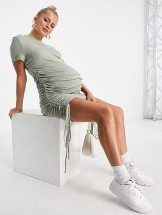 WOMEN Missguided Maternity ribbed midi dress with ruching in sage