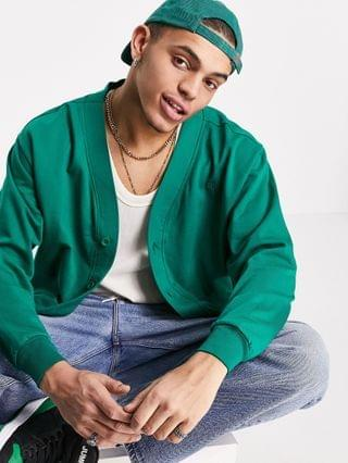 MEN Reclaimed Vintage inspired organic cotton jersey bomber in forest green