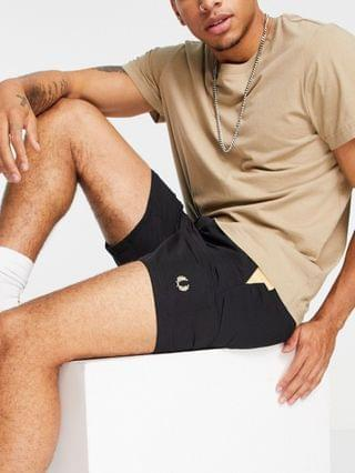 Fred Perry contrast panel swim shorts in black