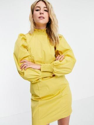 WOMEN Object poplin dress with exagerated sleeve in yellow